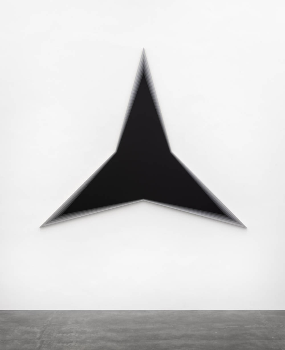 Philippe Decrauzat, Black Should Bleed to Edge (Black), 2012. Acrylic paint on canvas 191 x 220 x 3,5 cm 75.2 x 86.6 x 1.4 in. Photo © Nei Toledo. Courtesy of the artist and Galeria Nara Roesler
