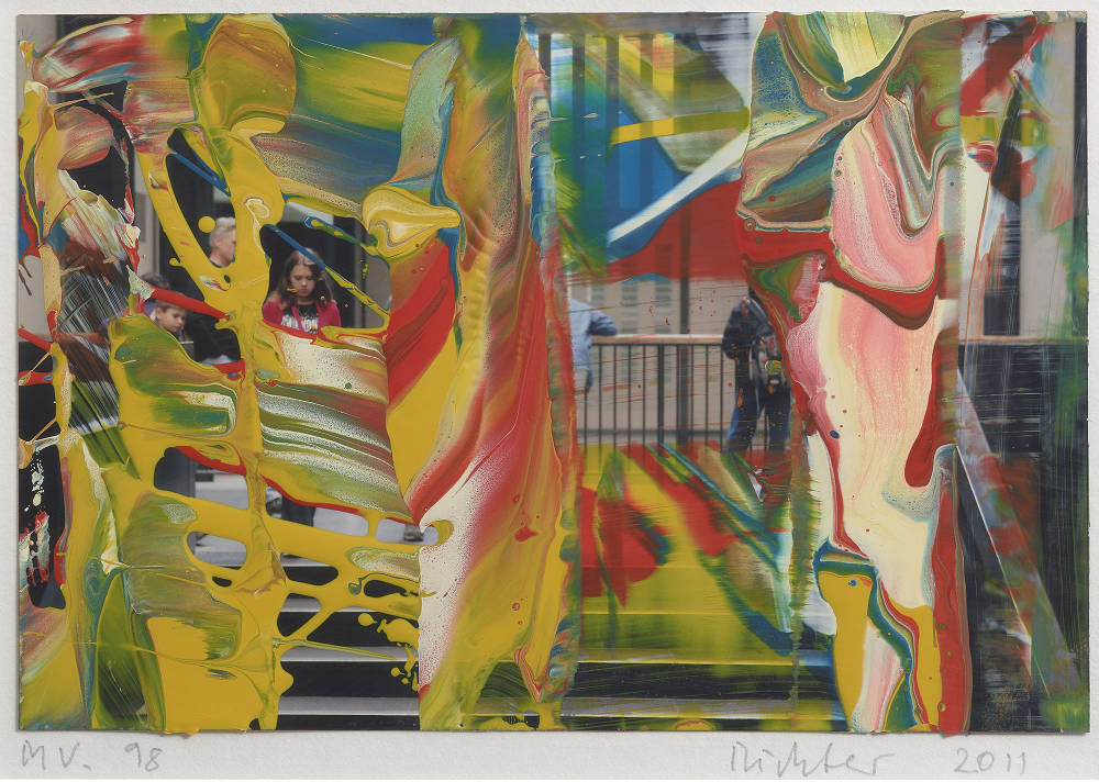 Gerhard Richter, MV. 98 , 2011. Lacquer on colour photograph 3 15/16 x 5 7/8 in 10 x 15 cm © Gerhard Richter 2019 (04042019). Photo: Prudence Cuming Associates Ltd. Courtesy the artist and Gagosian