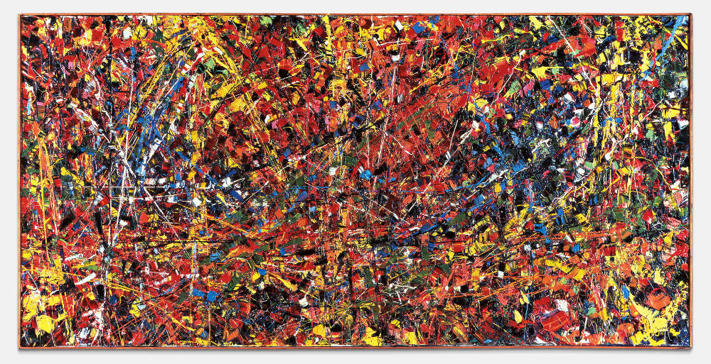 Jean Paul Riopelle, Abstraction (Orange), 1952. Oil on canvas 38 3/16 x 77 inches (97 x 195.5 cm) © SODRAC, Montreal and DACS, London 2019. Museu Coleção Berardo