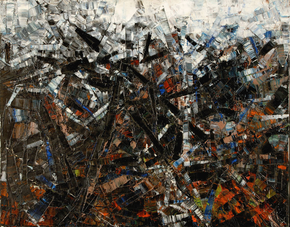 Jean Paul Riopelle, Horizontal, Black and White, 1955. Oil on canvas 28 3/4 x 36 1/4 inches (73 x 92 cm) © SODRAC, Montreal and DACS, London 2019. Henie Onstad Kunstsenter collection, Hövikodden, Norway. Photo: Öystein Thorvaldsen