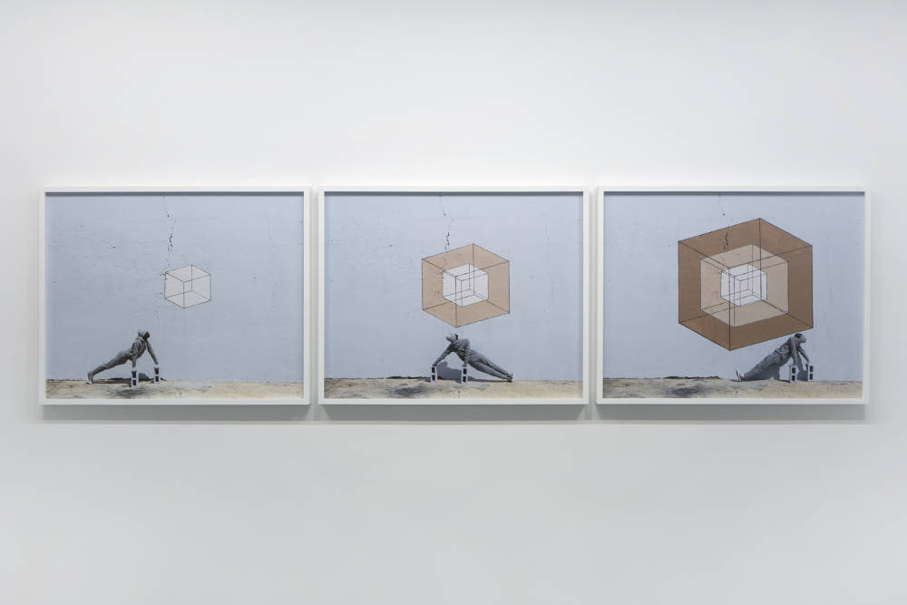 RobinRhode, Three Nudes, 2016. C-prints. Overall: 58,6x228cm. Each: 58,6x72,6cm ©RobinRhode. Photo:archiveskamelmennour. Courtesytheartistandkamelmennour,Paris/London