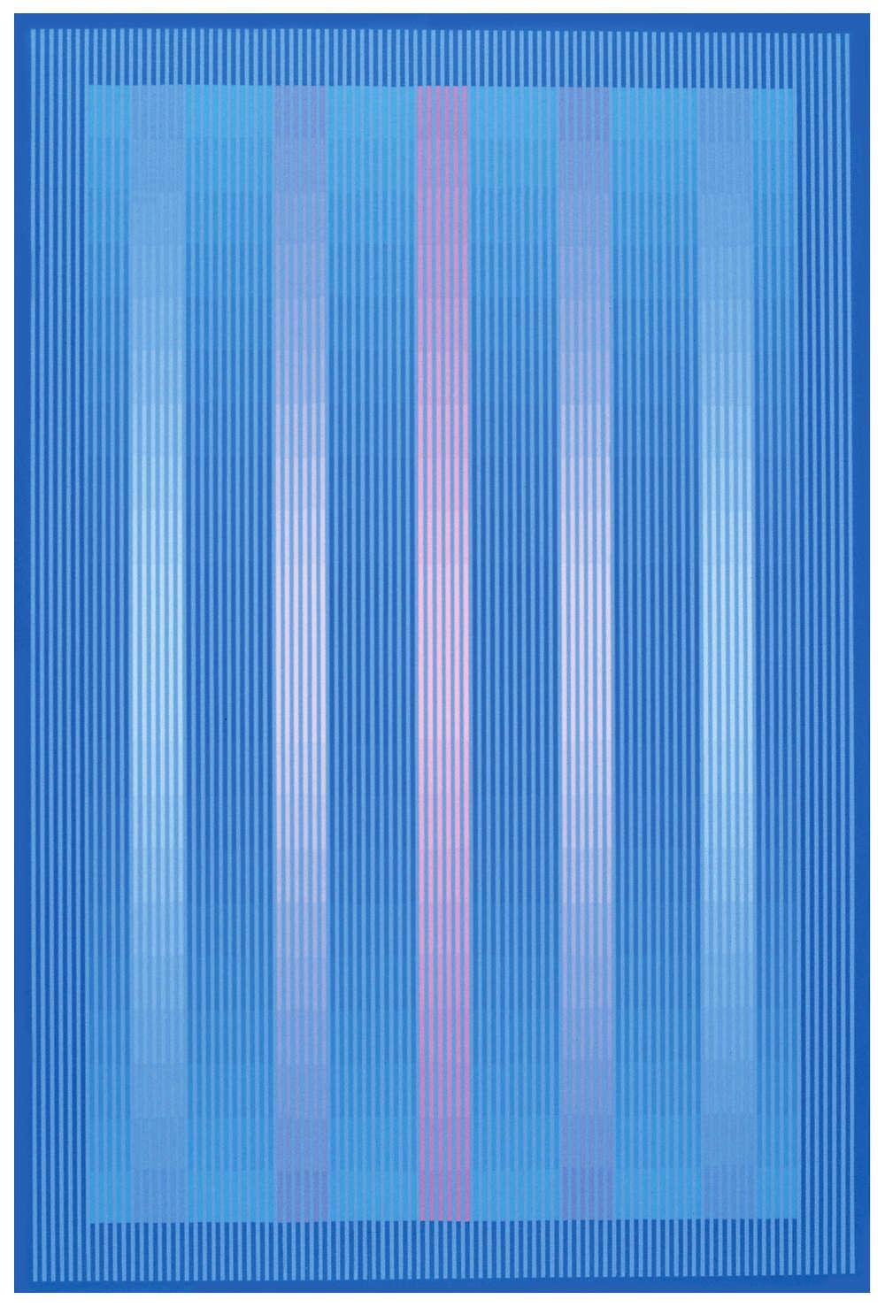 Julian Stańczak, Blue Crystal, 1985. Acrylic on canvas, 91 x 61 cm, 35 3/4 x 24 in.