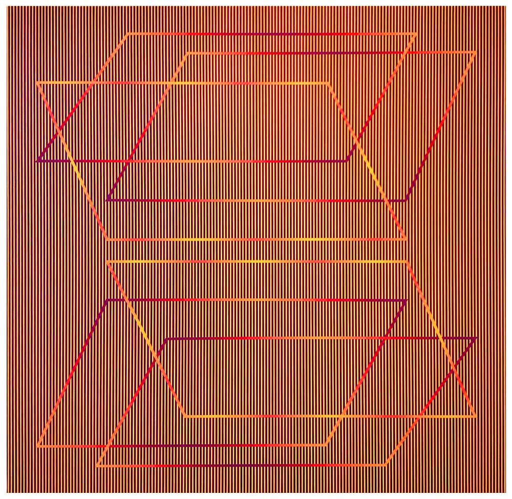 Julian Stańczak, Bounding, 1989. Acrylic on canvas, 127 x 127 cm, 50 x 50 in.