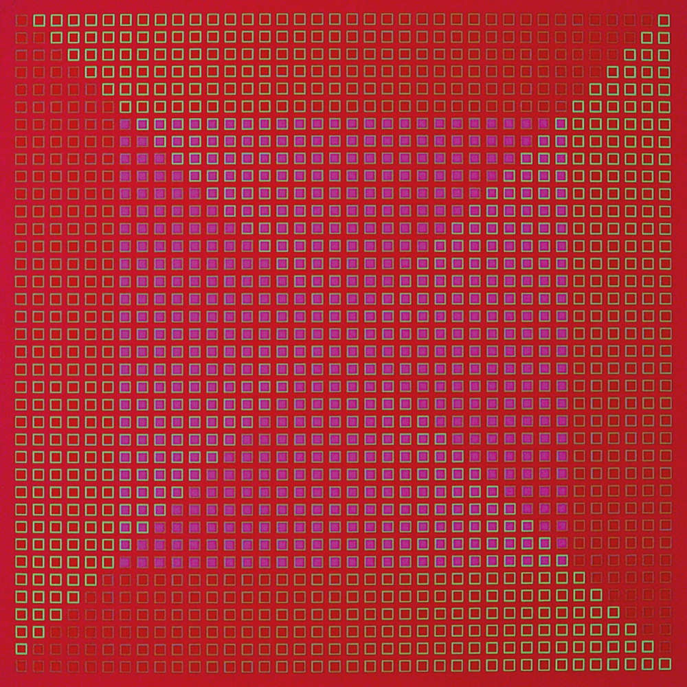 Julian Stańczak, Centred Duality - Red, 1981-82. Acrylic on canvas, 76 x 76 cm, 29 7/8 x 29 7/8 in.