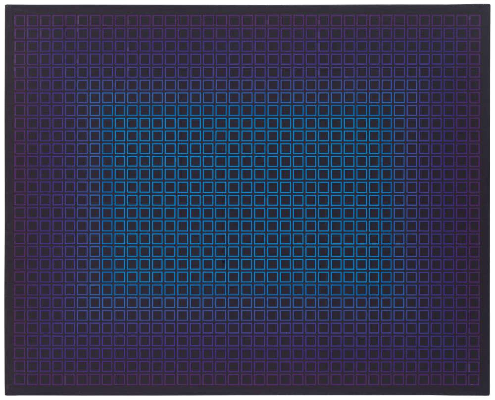 Julian Stańczak, Diminishing Light 5, 1981. Acrylic on canvas, 76 x 60 cm, 29 7/8 x 23 5/8 in.