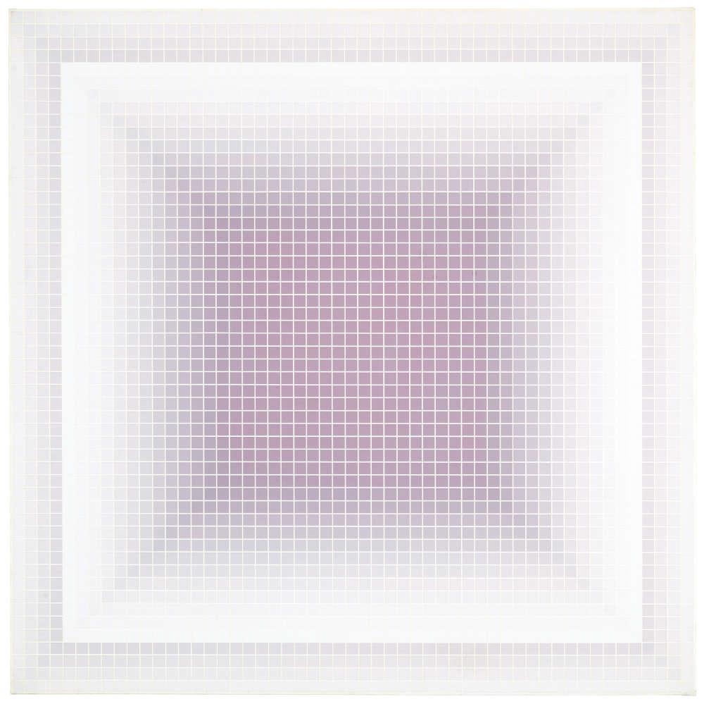 Julian Stańczak, Far Whisper, 1974. Acrylic on canvas, 101 x 101 cm, 39 3/4 x 39 3/4 in.