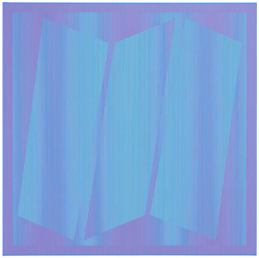 Julian Stańczak, Frosty Blue, 1976. Acrylic on canvas, 127 x 127 cm, 50 x 50 in.