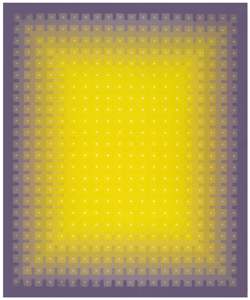 Julian Stańczak, Gaining Yellow, 1987. Acrylic on canvas, 122 x 96 cm, 48 x 37 3/4 in.