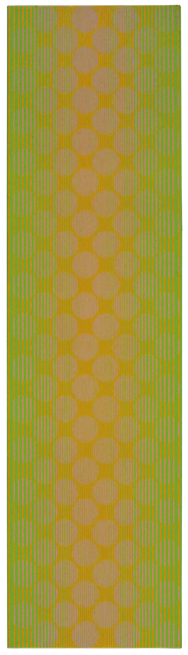 Julian Stańczak, Green Column, 1970. Acrylic on canvas, 111 x 30 cm, 43 3/4 x 11 3/4 in.