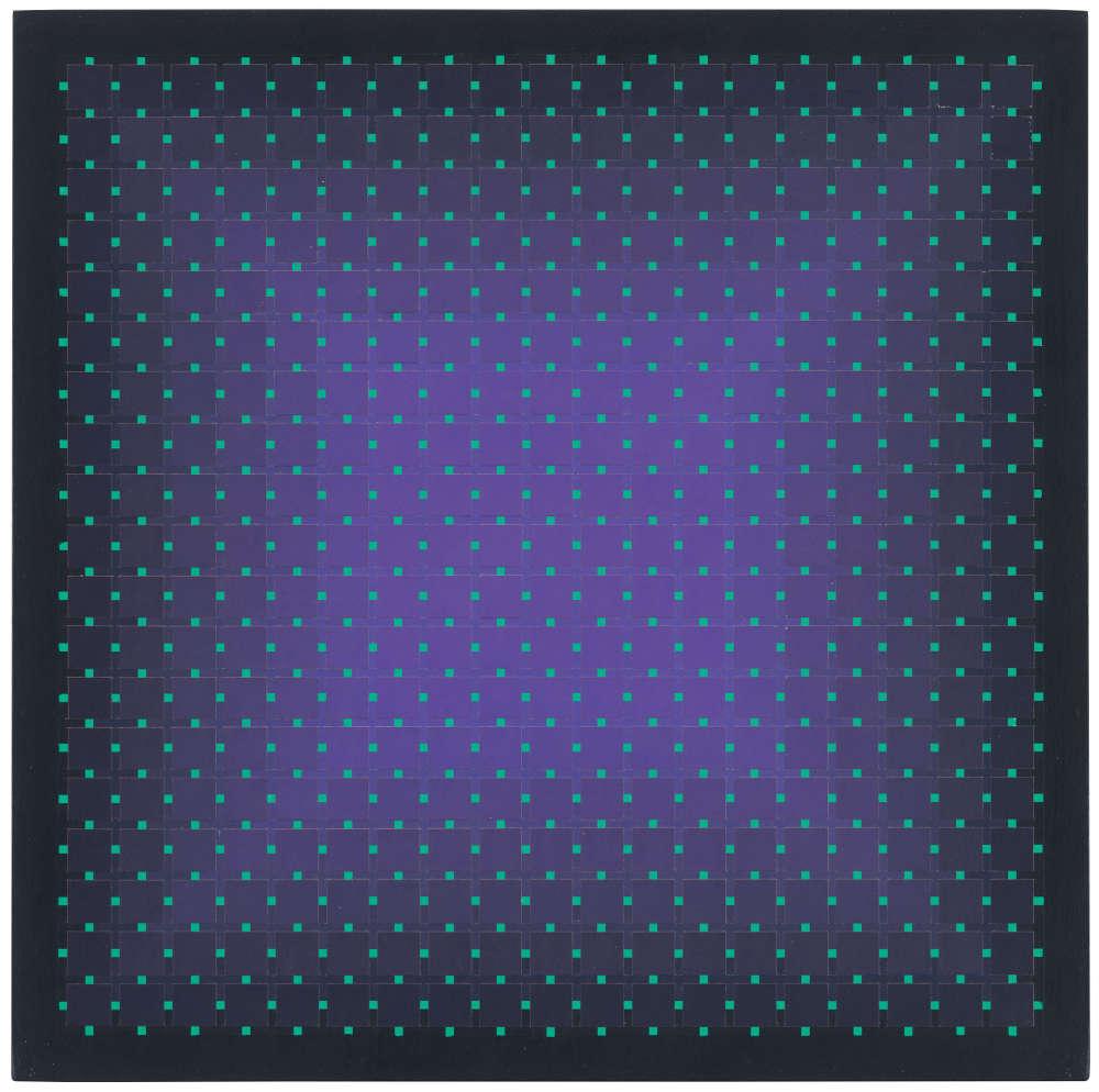 Julian Stańczak, Offering Purple, 2004. Acrylic on panel, 40 x 40 cm, 15 3/4 x 15 3/4 in.
