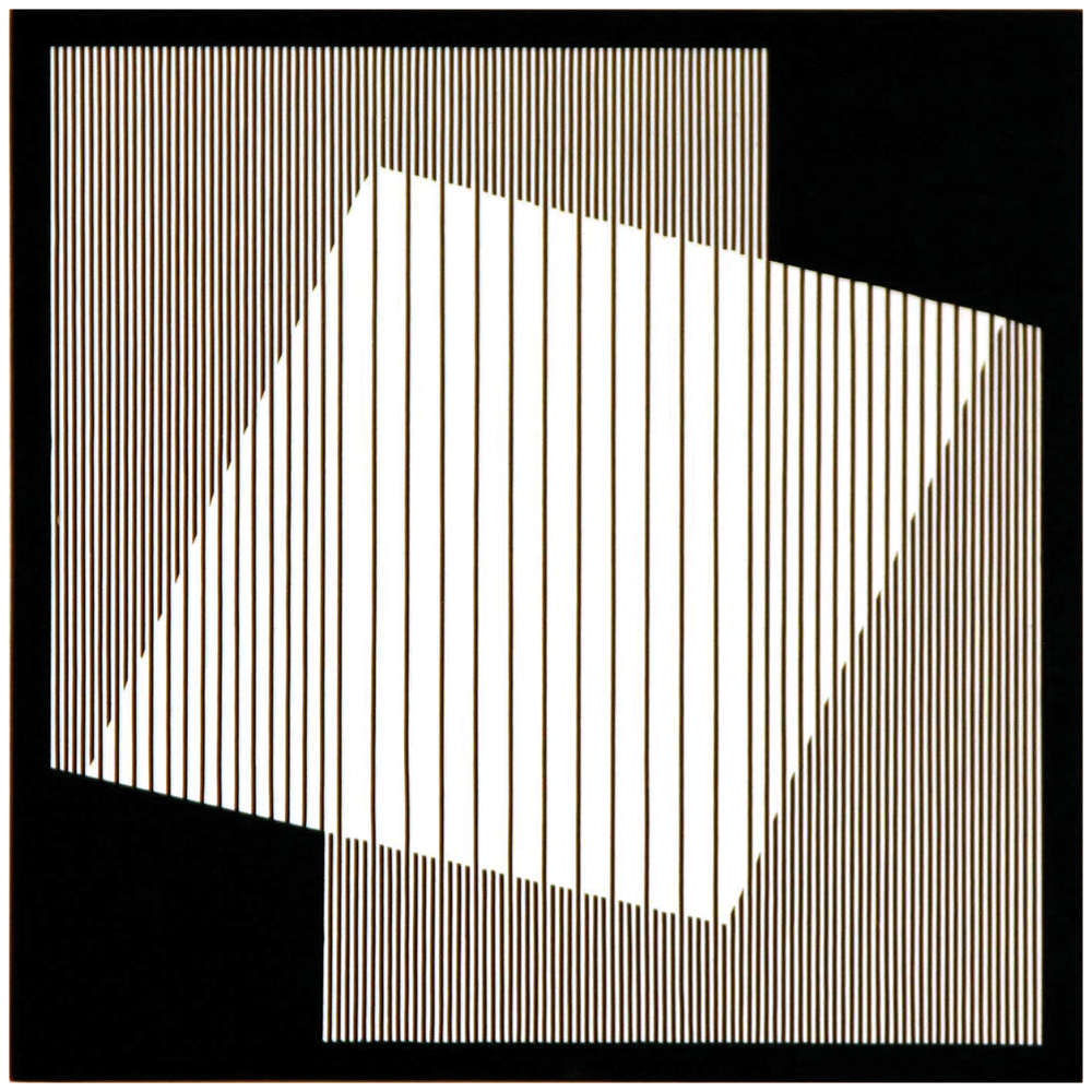 Julian Stańczak, Proportional White, 2010. Acrylic on panel, 40 x 40 cm, 15 3/4 x 15 3/4 in.