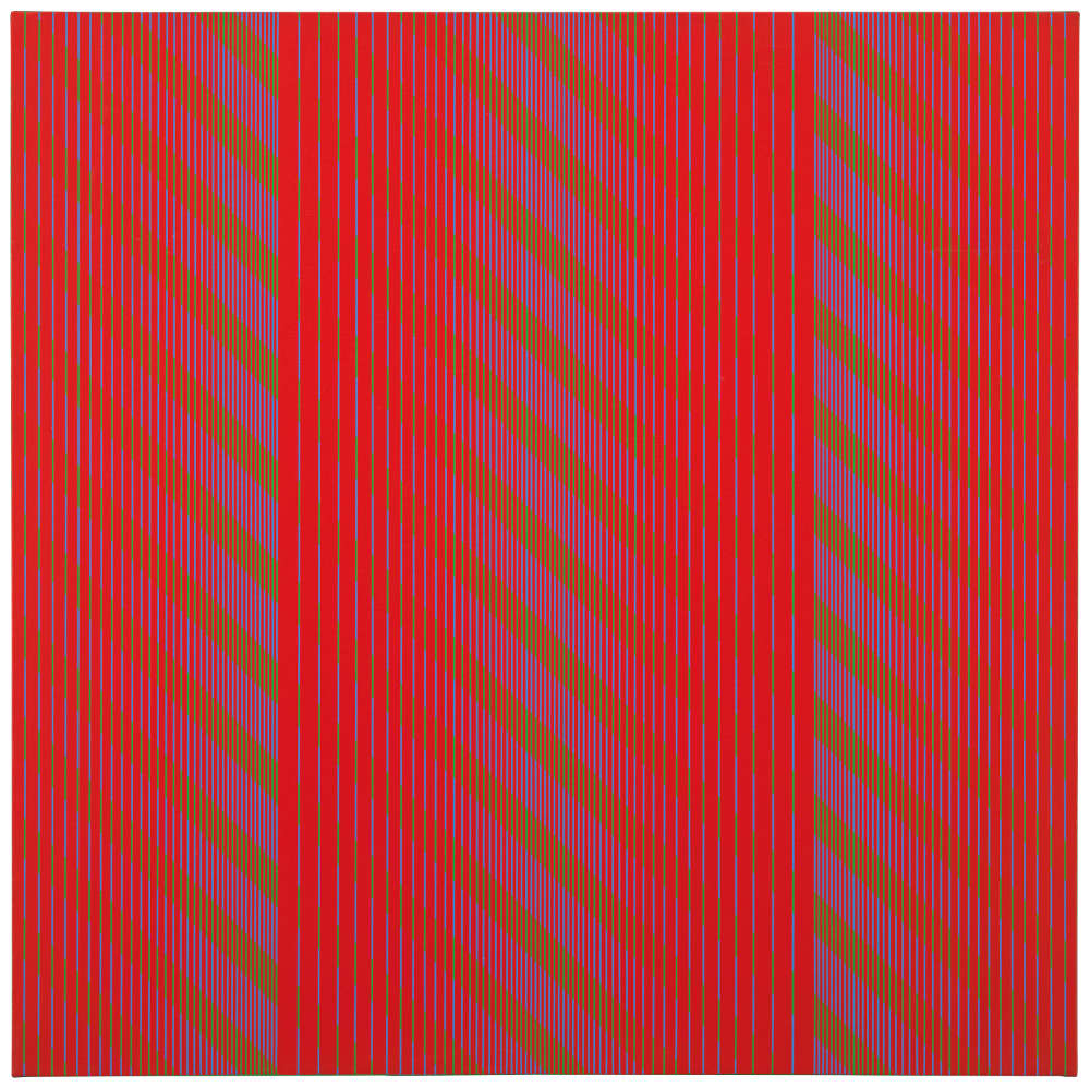 Julian Stańczak, Red Trilogy, 1969. Acrylic on canvas, 91 x 91 cm, 35 3/4 x 35 3/4 in.