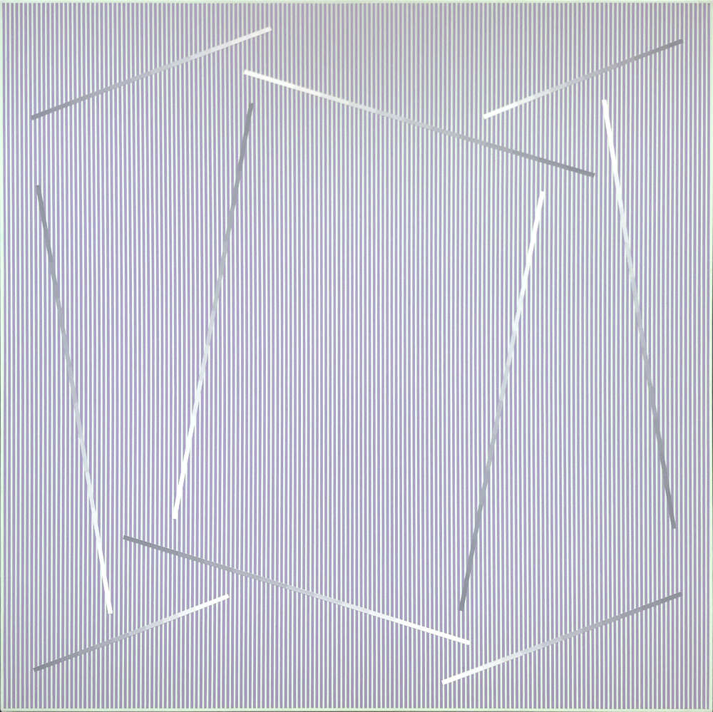 Julian Stańczak, Within the Square, 1989. Acrylic on canvas, 127 x 127 cm, 50 x 50 in.