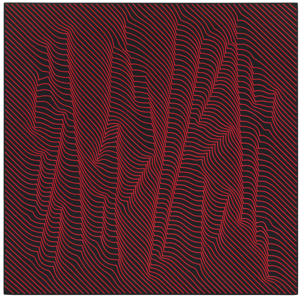 Julian Stańczak, Woods Warm Red Lights, 2009. Acrylic on panel, 60 x 60 cm, 23 5/8 x 23 5/8 in.