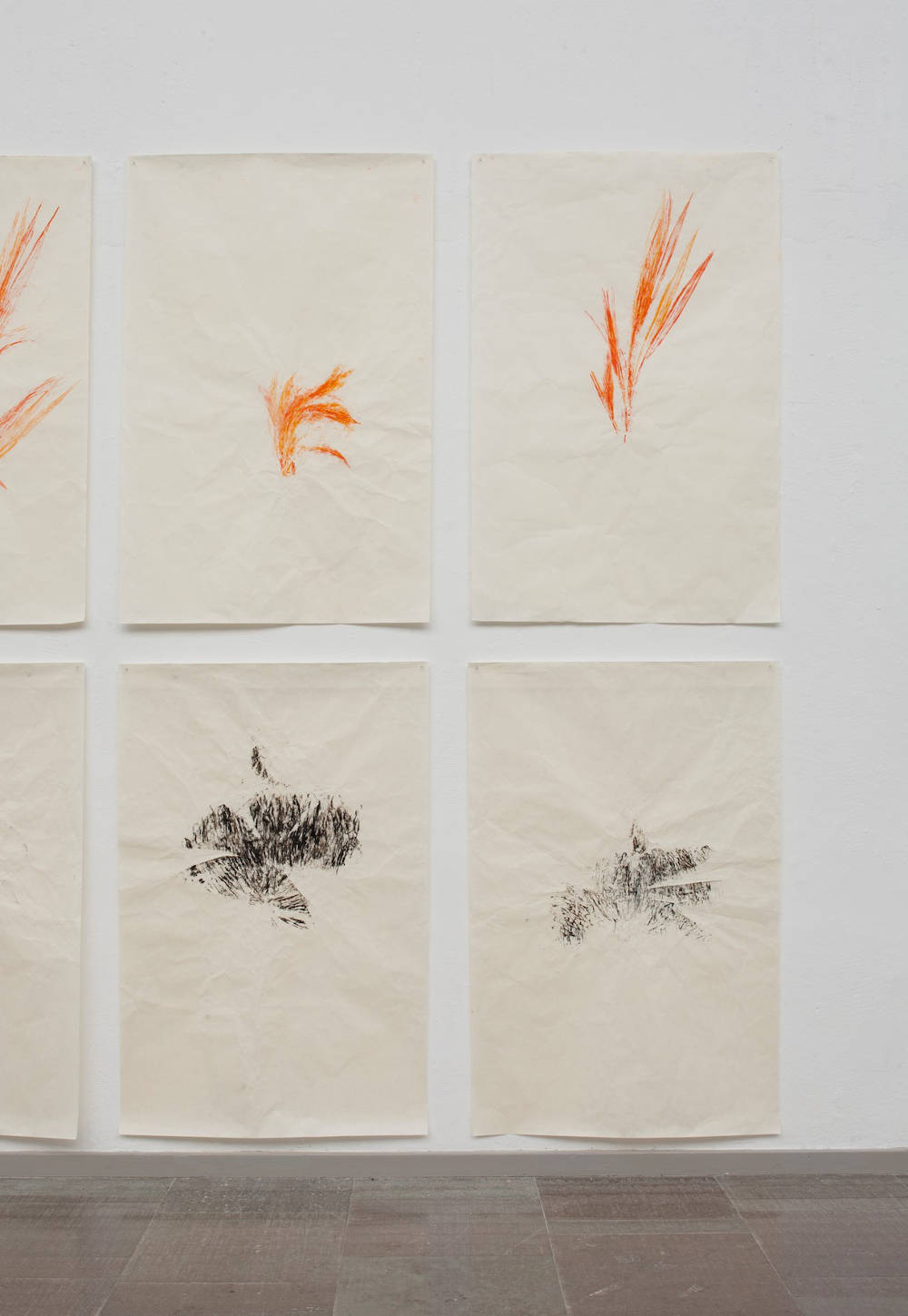 Simryn Gill, Travelling Light, 2017. Ink on paper, unique relief prints, 139.7 x 73.6 cm each. Courtesy the artist and Utopia Art Sydney