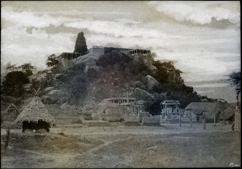 Thomas Ruff, tripe_18 Veralimalay. Pagoda on a rocky hill from east south east., 2018. C-print, edition of 6 + 2 AP, ed. 2/6, image 81 x 115 cm (31 7/8 x 45 1/4 in.) framed 123.5 x 170.5 cm (48 5/8 x 67 1/8 in.) signed and dated