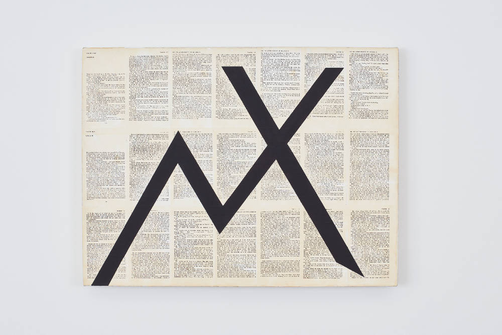 TIM ROLLINS and K.O.S., By any means necessary - Trapped/Caught, 1985-1987. Black gesso on book pages mounted on linen 21 x 28 x 1.375 inches 53.3 x 71.1 x 3.5 cm. Courtesy Studio K.O.S., Lehmann Maupin, New York, Hong Kong, and Seoul. Photo: Matthew Herrmann