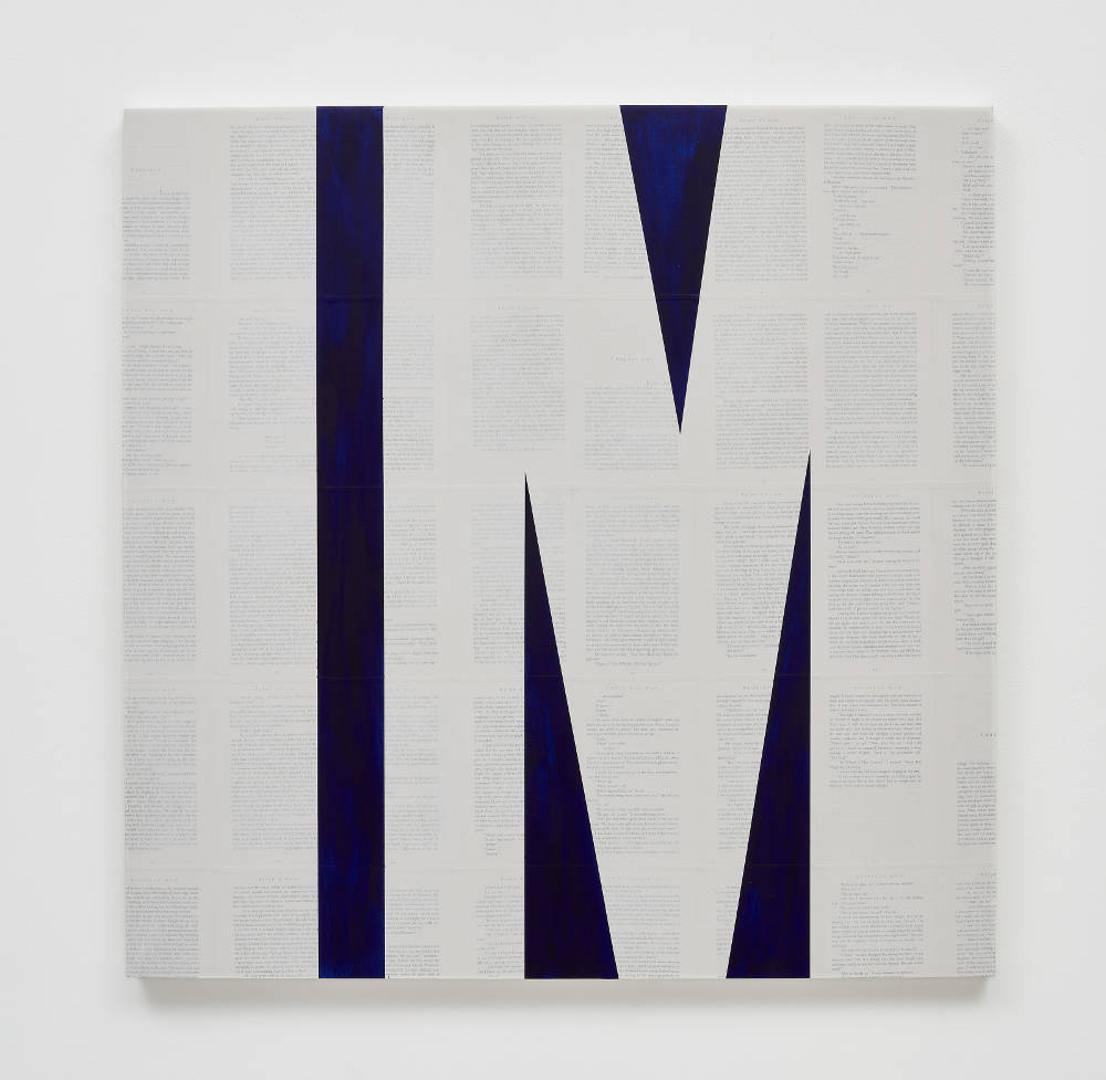 TIM ROLLINS and K.O.S., Invisible Man (after Ralph Ellison), 2014. Matte acrylic and pencil on book pages on wood panel 36 x 36 inches 91.4 x 91.4 cm. Courtesy Studio K.O.S., Lehmann Maupin, New York, Hong Kong, and Seoul. Photo: Matthew Herrmann