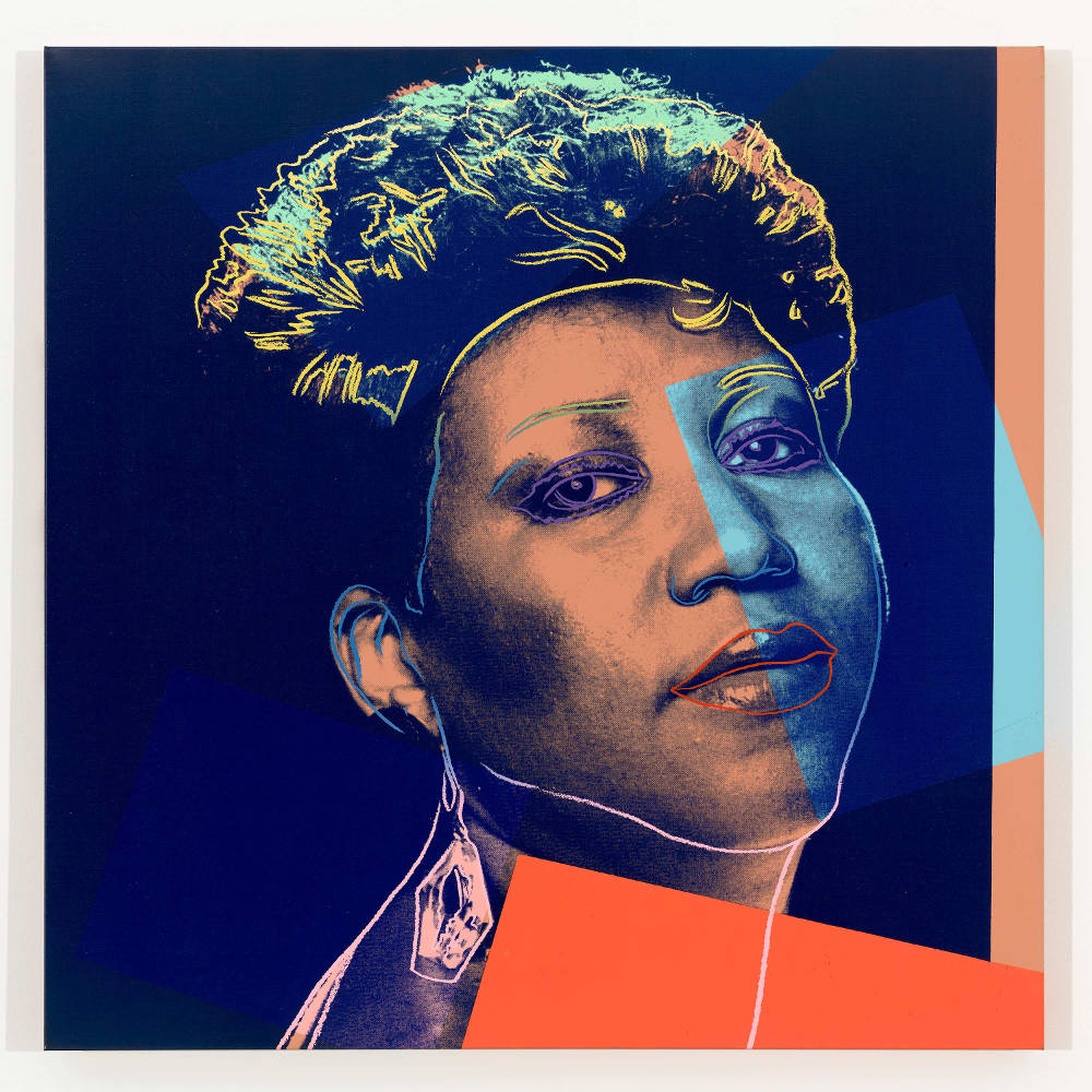 Andy Warhol, Aretha Franklin, 1986. Synthetic polymner paint and silkscreen ink on canvas 40 x 40 inches (101.6 x 101.6 cm) © 2019 The Andy Warhol Foundation for the Visual Arts, Inc. / Licensed by Artists Rights Society (ARS), New York. Courtesy Lévy Gorvy. Photo: Tim Nighswander