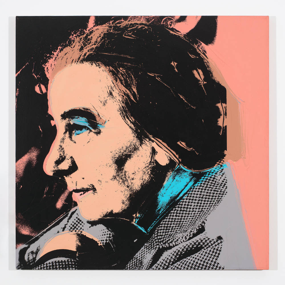 Andy Warhol, Golda Meir, 1975. Acrylic and silkscreen ink on canvas 40 x 40 inches (101.6 x 101.6 cm) © 2019 The Andy Warhol Foundation for the Visual Arts, Inc. / Licensed by Artists Rights Society (ARS), New York. Courtesy Lévy Gorvy. Photo: Tim Nighswander