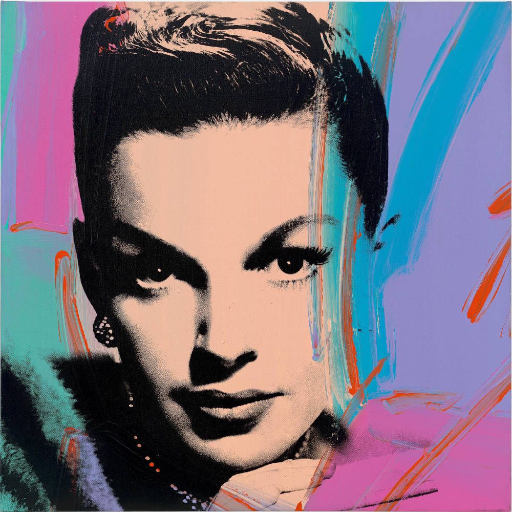 Andy Warhol, Judy Garland (Multicolor), 1978. Acrylic and silkscreen on canvas 40 x 40 inches (101.6 x 101.6 cm) © 2019 The Andy Warhol Foundation for the Visual Arts, Inc. / Licensed by Artists Rights Society (ARS), New York. Courtesy Lévy Gorvy. Photo: Tim Nighswander