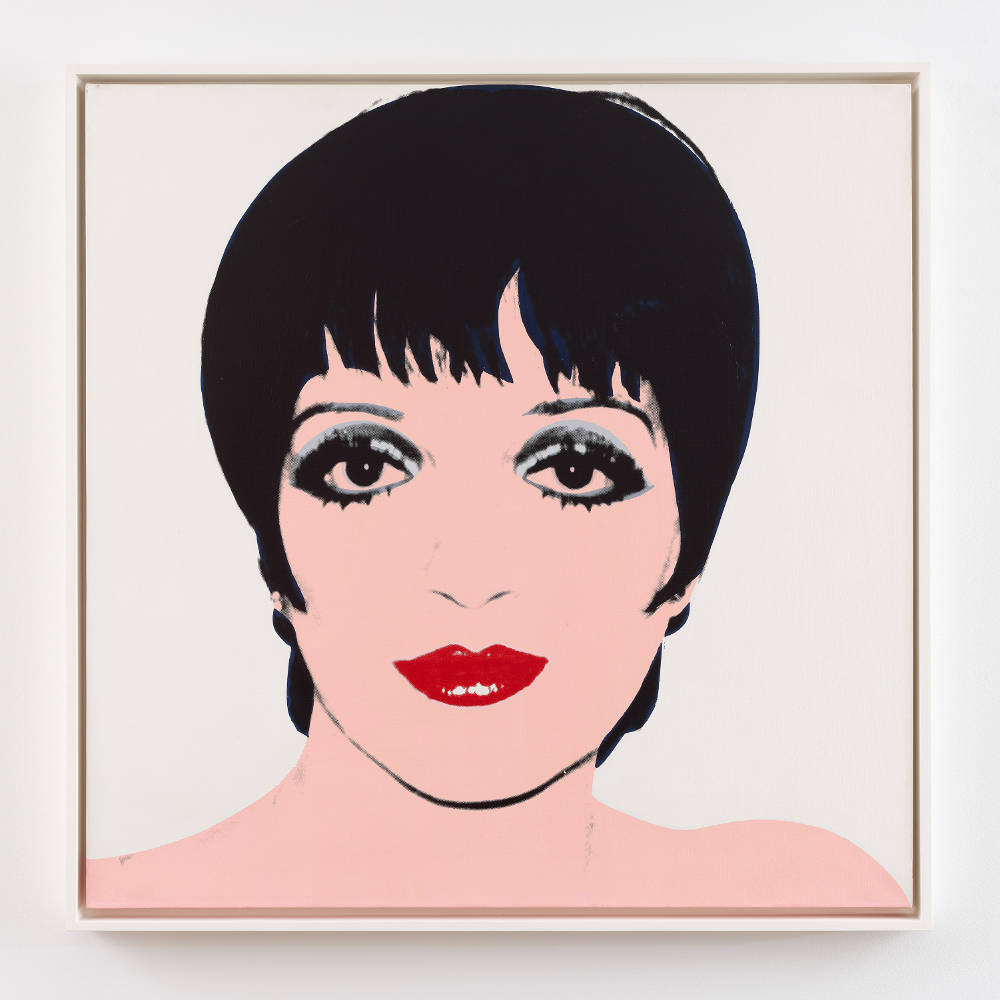 Andy Warhol, Liza Minelli (White), 1978. Acrylic and silkscreen ink on canvas 40 x 40 inches (101.6 x 101.6 cm © 2019 The Andy Warhol Foundation for the Visual Arts, Inc. / Licensed by Artists Rights Society (ARS), New York. Courtesy Lévy Gorvy. Photo: Elisabeth Bernstein