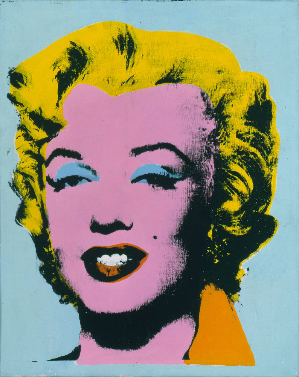 Andy Warhol, Mint Marilyn (Turquoise Marilyn), 1962. Acrylic and silkscreen ink on linen 20 x 16 inches (50.8 x 40.6 cm) © 2019 The Andy Warhol Foundation for the Visual Arts, Inc. / Licensed by Artists Rights Society (ARS), New York. Private Collection. Photo: Dorothy Zeidman