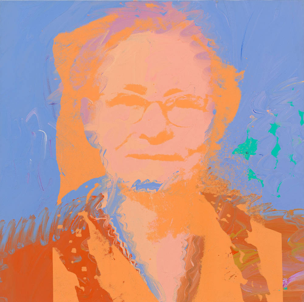 Andy Warhol, Portrait of Julia Warhola, September 1974. Acrylic and silkscreen ink on canvas 40 x 40 inches (101.6 x 101.6 cm) © 2019 The Andy Warhol Foundation for the Visual Arts, Inc. / Licensed by Artists Rights Society (ARS), New York. Courtesy Lévy Gorvy. Photo: Tim Nighswander