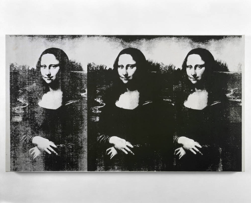 Andy Warhol, Triple Mona Lisa, 1963. Silkscreen ink on linen 22 1/4 x 39 1/2 inches (56.5 x 100.3 cm) © 2019 The Andy Warhol Foundation for the Visual Arts, Inc. / Licensed by Artists Rights Society (ARS), New York. Private Collection, New York Photo: Tim Nighswander