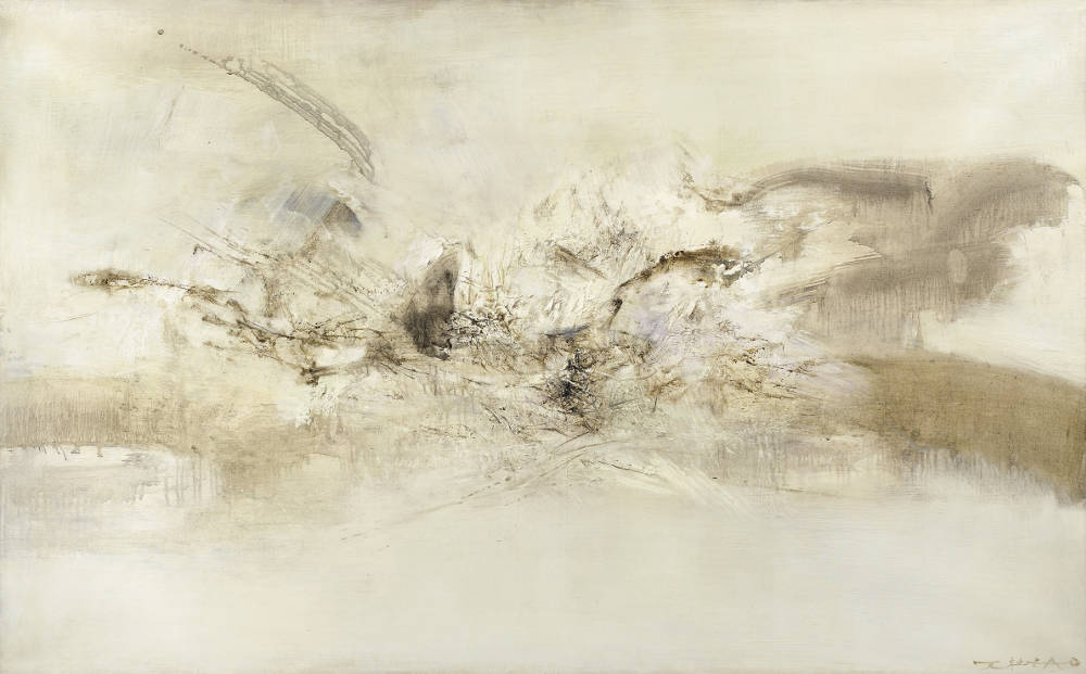 Zao Wou-Ki, 16.09.69, 1969. Oil on canvas 31 7/8 x 51 3/16 inches (81 x 130 cm) © DACS 2019. Private Collection. Photo: Reserved Rights