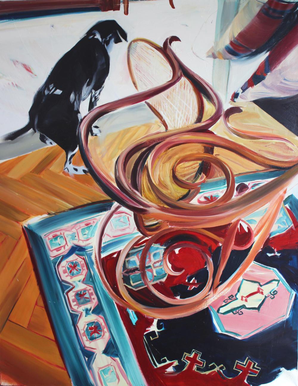 Andrea Fontanari, L'Esausta, 2019. Oil on linen 170x220cm