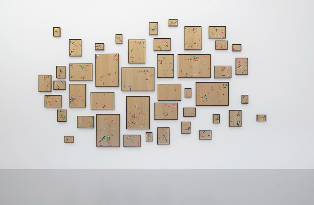 Ryan Gander, This is Creative Play, This involves some Risk Taking - Auto Abstraction, 2016. Stained pine on cherry plywood. Dimensions variable © Ryan Gander. Courtesy Lisson Gallery