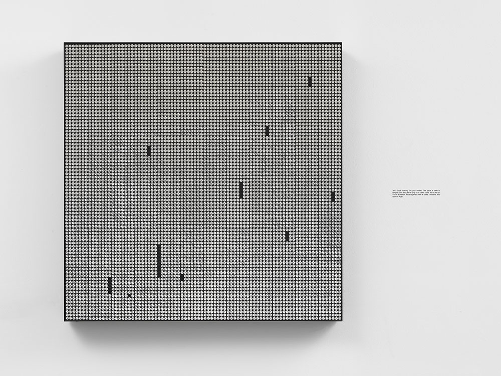 Ryan Gander, On slow Obliteration, or Very grown up, 2018. 18 panel, small dot, black dot on silver flip dot panel, powder coated aluminium tray frame, rub down transfer. Installed: 85.3 x 85.3 x 8.4 cm. Installed: 33 1/2 x 33 1/2 x 3 1/4 in © Ryan Gander. Courtesy Lisson Gallery