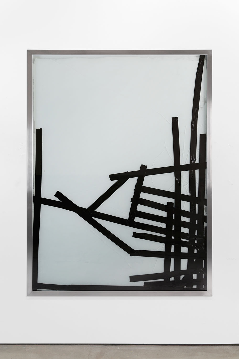 Ryan Gander, By physical or cognitive means (Broken Window Theory 25th March), 2019. Ink on paper, emulsion paint, aluminium frame, reinforced broken glass, duct tape 180 x 135 x 7 cm 70 3/4 x 53 1/8 x 2 3/4 in © Ryan Gander. Courtesy Lisson Gallery