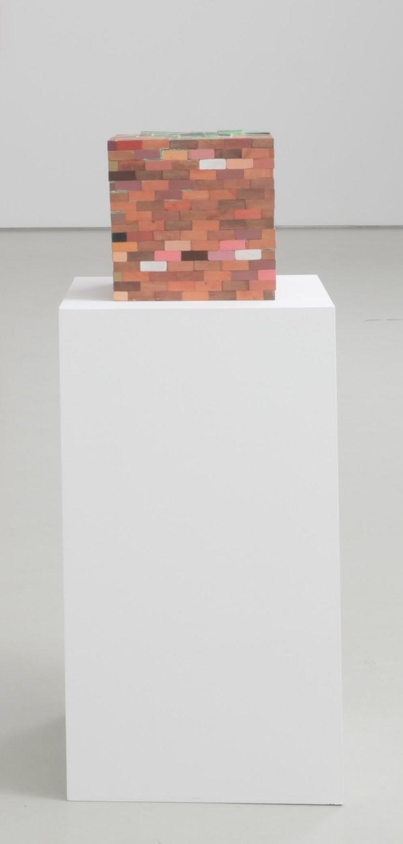 Aimee Goguen, Blob Box, 2016. Wood, gouache, acrylic, dye, glue 24 x 24 x 24 in (61 x 61 x 61 cm)