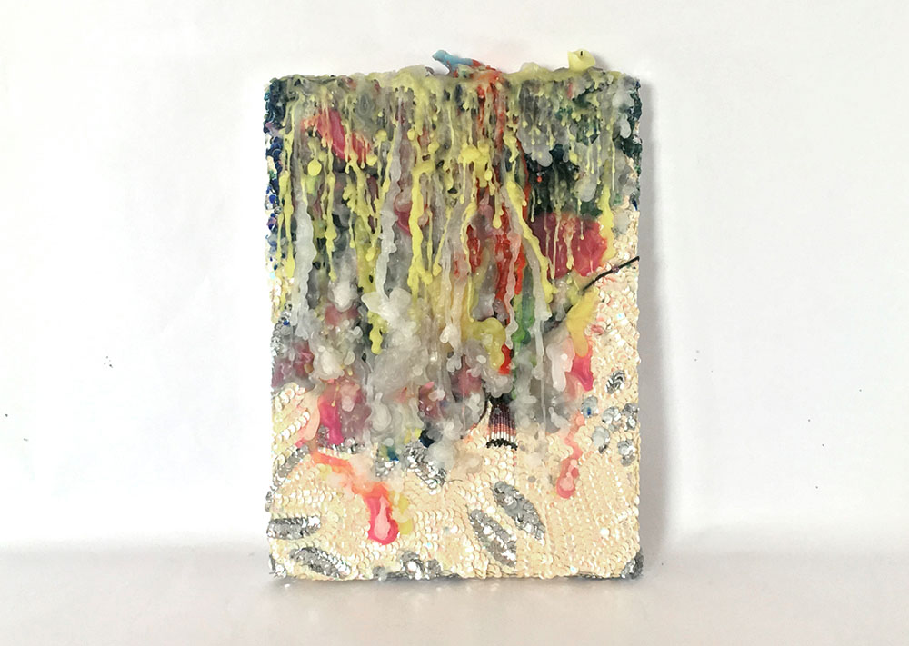 Daniel González, Spiritual Painting, 2019. Wax and hand-sewn sequins on canvas, 27,5 x 40 x 4 cm