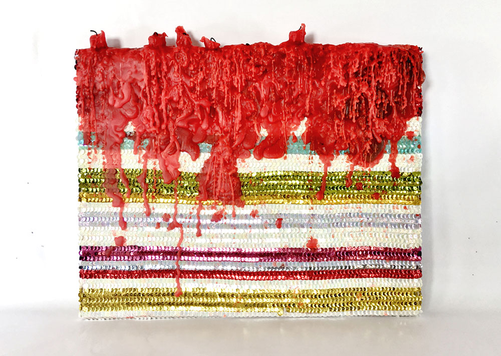Daniel González, Spiritual Painting, 2019. Wax and hand-sewn sequins on canvas, 48 x 41 x 3 cm