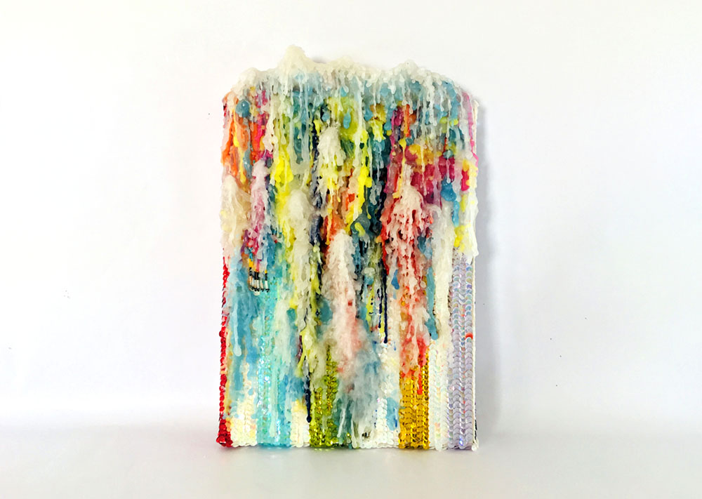 Daniel González, Spiritual Painting, 2019. Wax and hand-sewn sequins on canvas, 27,5 x 43 x 5 cm