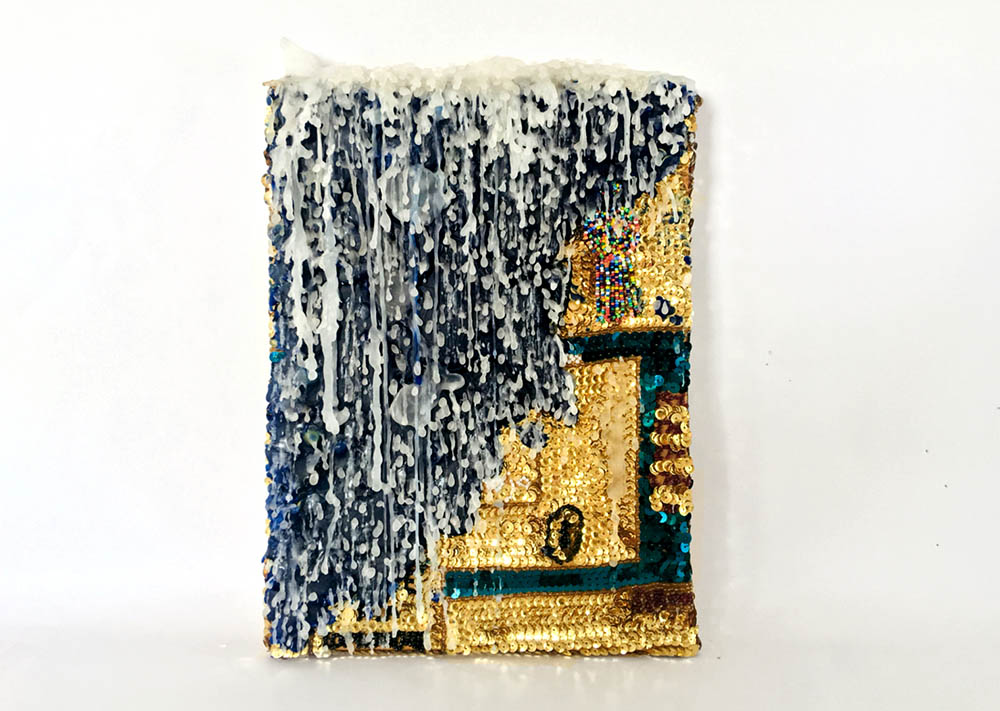 Daniel González, Spiritual Painting, 2019. Wax and hand-sewn sequins on canvas, 23 x 32 x 3,5 cm