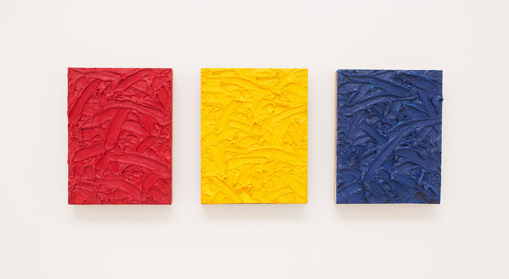 James Hayward, Red/Yellow/Blue Ratio Triptych #2, 2010. Oil on canvas on wood panels 14 x 11 in (35.6 x 27.9 cm) (each)