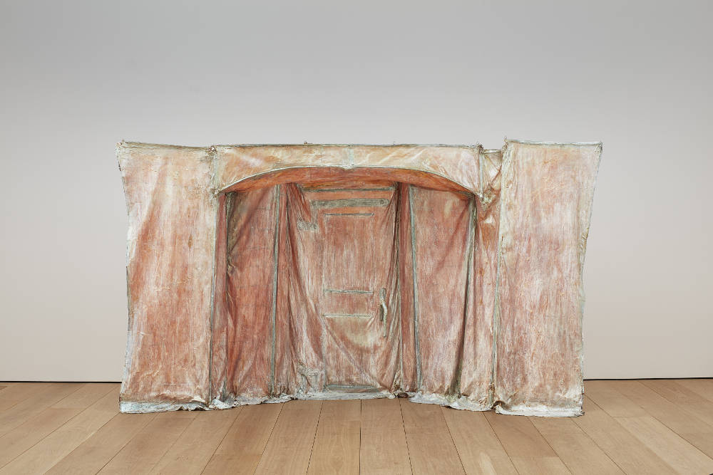 Heidi Bucher, Borg, 1976. Latex, textile, mother of pearl pigment, and bamboo 90.55 x 137.8 x 39.37 inches (approximately) 230 x 350 x 100 cm. Photo: Matthew Herrmann © The Estate of Heidi Bucher. Courtesy the artist and Lehmann Maupin, New York, Hong Kong, and Seoul
