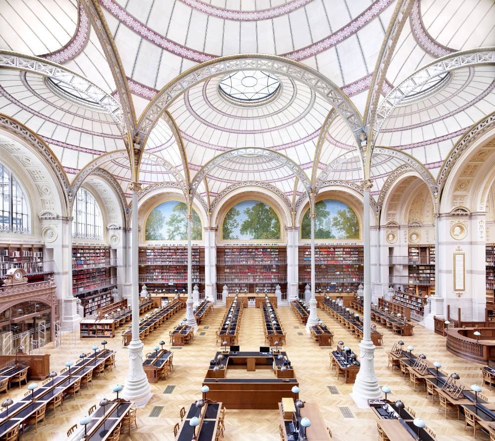Candida Höfer, La Salle Labrouste - La Bibliothèque de l'INHA Paris I 2017, 2017. Image Dimensions: 180 x 197 cm (70.87 x 77.56 inches) Framed Dimensions: 185 x 202 cm (72.83 x 79.53 inches) Edition 2 of 6. Courtesy of the artist & VNH Gallery © Candida Höfer