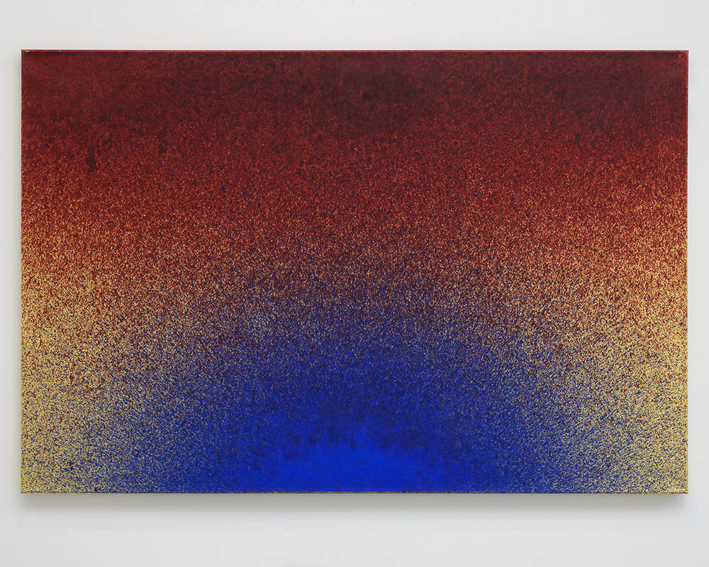 Imran Qureshi, This Day and The Anguish of This Day, 2019. Acrylic paint and gold leaf on canvas 121,9 x 182,9 cm (48 x 72 in) Courtesy Galerie Thaddaeus Ropac, London · Paris · Salzburg. Photos : Charles Duprat © Imran Qureshi