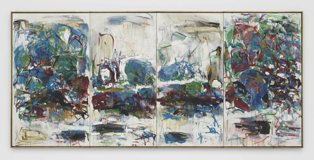 Joan Mitchell, La Seine, 1967. Oil on canvas in four (4) parts 76 7/8 x 165 7/8 inches 195.3 x 421.3 cm. Framed: 78 1/2 x 167 1/2 x 2 1/4 inches 199.4 x 425.4 x 5.7 cm © Estate of Joan Mitchell. Governor Nelson A. Rockefeller Empire State Plaza Art Collection, New York State, Office of General Services. Courtesy David Zwirner