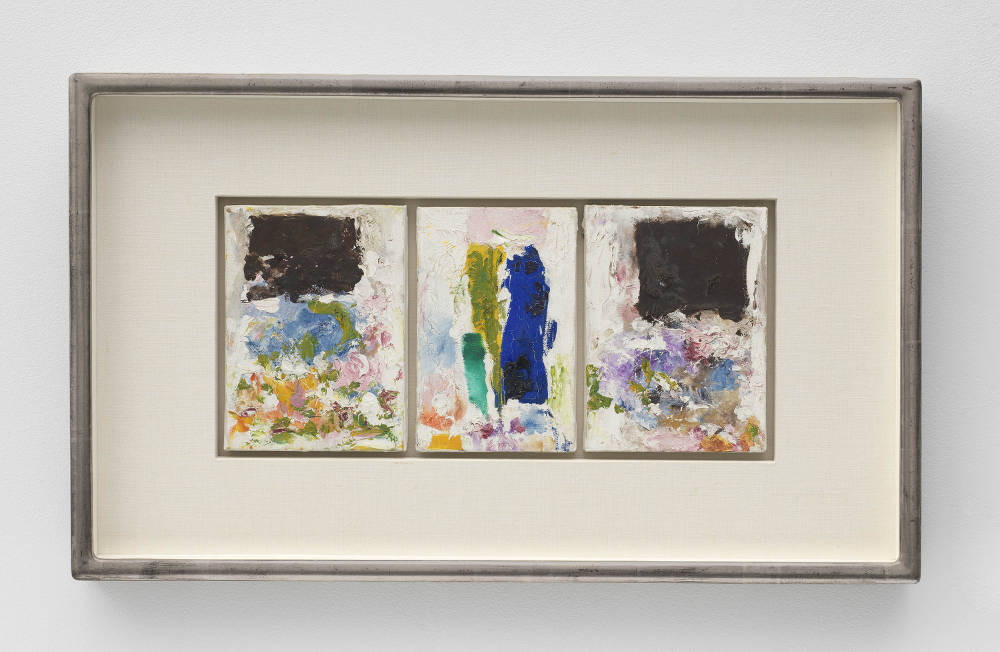 Joan Mitchell, Untitled, 1974-1975. Oil on canvas in three (3) parts 8 5/8 x 19 1/8 inches 21.9 x 48.6 cm. Framed: 17 3/4 x 29 3/4 x 2 inches 45.1 x 75.6 x 5.1 cm © Estate of Joan Mitchell. Private Collection, Minneapolis. Courtesy David Zwirner