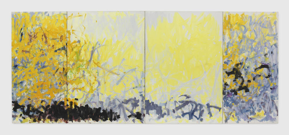 Joan Mitchell, Minnesota, 1980. Oil on canvas in four (4) parts 102 1/2 x 244 1/4 inches 260.4 x 620.4 cm © Estate of Joan Mitchell. Collection of the Joan Mitchell Foundation, New York. Courtesy David Zwirner