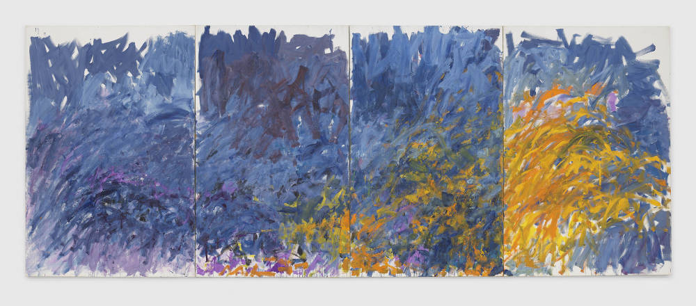 Joan Mitchell, Edrita Fried, 1981. Oil on canvas in four (4) parts 116 1/4 x 299 5/8 inches 295.3 x 761 cm © Estate of Joan Mitchell. Collection of the Joan Mitchell Foundation, New York. Courtesy David Zwirner