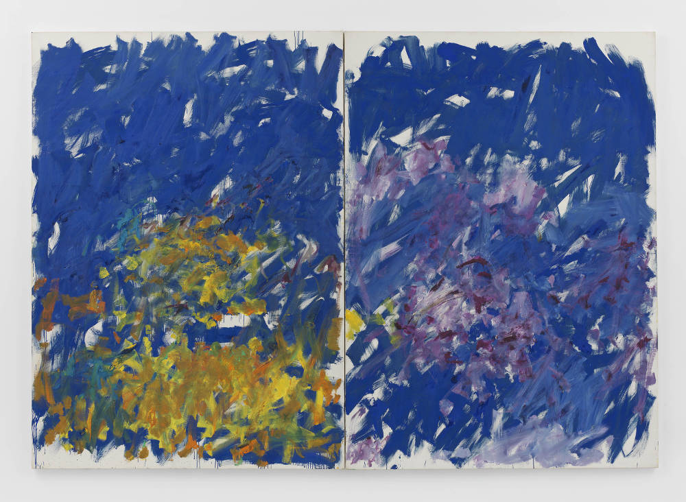 Joan Mitchell, Row Row, 1982. Oil on canvas in two (2) parts 110 1/4 x 157 7/8 inches 280 x 401 cm © Estate of Joan Mitchell. Collection of the Joan Mitchell Foundation, New York. Courtesy David Zwirner