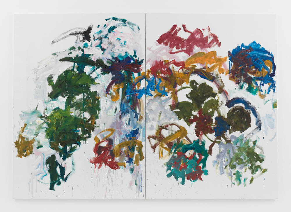 Joan Mitchell, Sunflowers, 1990-1991. Oil on canvas in two (2) parts 110 1/4 x 157 1/2 inches 280 x 400.1 cm © Estate of Joan Mitchell. Collection of the Joan Mitchell Foundation, New York. Courtesy David Zwirner