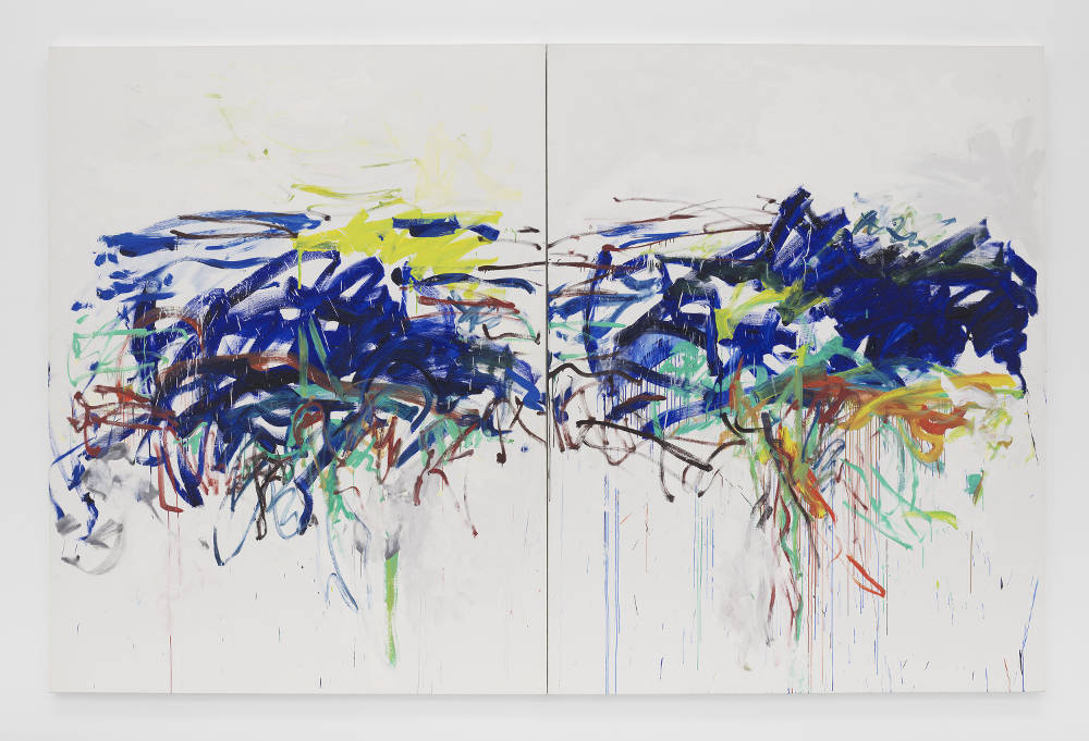Joan Mitchell, Untitled, 1992. Oil on canvas in two (2) parts 102 3/8 x 157 3/4 inches 260 x 400.7 cm © Estate of Joan Mitchell. Collection of the Joan Mitchell Foundation, New York. Courtesy David Zwirner